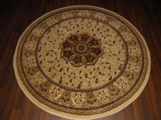 STUNNING 140X140CM CIRCLE RUGS WOVEN&CARVED ROYAL RANGE TOP QUALITY IVORY/RED